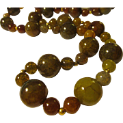 """Dragon Vein Agate Bead Necklace, 27"""""""