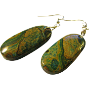 INTRO SPECIAL, Buy 1 for $20, 2 for $25 - Ghost Eye Green and Khaki Jasper Gemstone Earrings