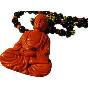 """Red Cinnabar Buddha Pendant Necklace with Black Onyx Beads, 20"""""""