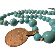 """Middle Eastern Tribal Old Coin Pendant with Dyed Turquoise Howlite Bead Necklace, 26"""""""