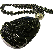Glossy Black Obsidian Kwan Yin Pendant with Black Agate Bead Necklace, 22""