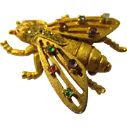 Vintage Gold Tone Metal Bee Pin with Multi-Colored Rhinestones by BSK