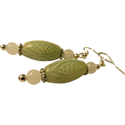 Hand-Etched Celadon Green Oblong Jade Bead Earrings
