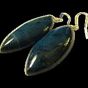Azure Blue Fire Agate Gemstone Earrings with Sterling Silver Pierced Wire