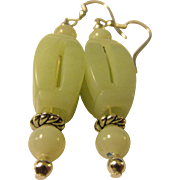 Chinese Carved Jade Bead Earring, Pierced