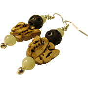 Burnished Wooden Butterfly Charm with Jade and Carved Wood Bead Earring