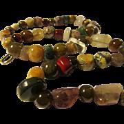"""Multi-Gemstone Fruit Basket Necklace, 28"""""""