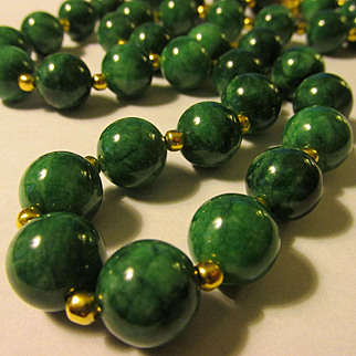 Emerald Green, Richly Veined Chinese Jade Bead Necklace, 24""