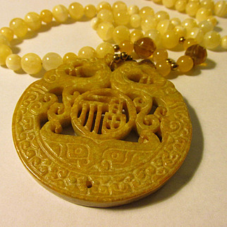 Double Dragon Buff Yellow Chinese Jade Pendant with Calcite Bead Necklace, 26""