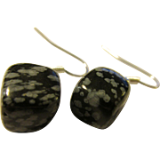 INTRO SPECIAL, Buy 1 for $20, 2 for $25 - Snowflake Obsidian Gemstone Cube Earring, Pierced, 1/2""