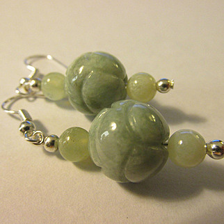 INTRO SPECIAL - Buy 1 for $20, 2 for $25 - Carved Jade Peony Blossom Pierced Earring
