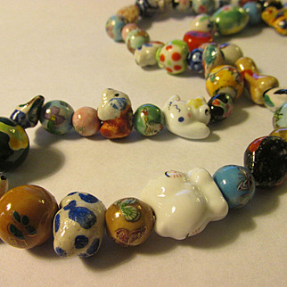 Vintage Mini Ceramic Beads Necklace with Animal-Bird-Floral-Abstract Motifs, 28""