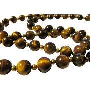 "Luminous Tiger Eye Bead Necklace, 26"""