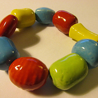 Red-Blue-Yellow-Green Chunky Handcrafted Ceramic Bead Expandable Bracelet