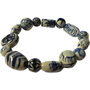 Chinese Blue and White Ceramic Bead Bracelet