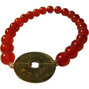 Chinese Vintage Coin Charm with Orange Jade Bead Bracelet