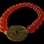 Chinese Vintage Coin Charm with Orange Jade Bead Bracelet