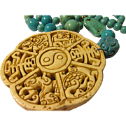 The Four Immortal Creatures: Dragon-Phoenix-Turtle-Kylin Stone Pendant with Howlite and Turquoise Bead Necklace, 20""