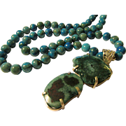 """Teal Blue Crystalized Double Druzy Artisan Pendant with Gemstone Bead Necklace, 22"""""""