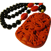 Red Cinnabar Dragon Pendant with German Red Glass and Black Agate Bead Necklace, 20""