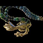 "SilverTone Goldfish-Koi-Carp Pendant with Gemstone Bead Necklace, 24"""