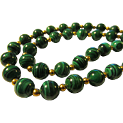 """Green Malachite Gemstone Bead Necklace with 14K GF Spacers, 23"""""""