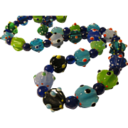 """Polka Dotted Handcrafted Lampwork Glass Bead Necklace, 24"""""""