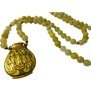 """Gilded Chartreuse Grecian(?) Urn Pendant with Mini Celadon Jade Bead Necklace, 23"""""""