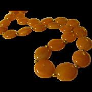 "Orange Carnelian Flat Bead Necklace with 14K GF Spacers, 20"""