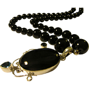 Black Onyx with Simulated Amethyst and Blue Topaz Artisan Pendant with Black Onyx Bead Necklace, 19""