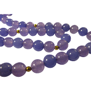 Lavender-Lilac Chinese Jade Bead Necklace with 14K GF Spacers, 24""