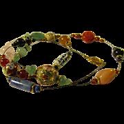 """Jade-Cinnabar-Cloisonne-Quartz-Gemstone Beads on Necklace Wire, 30"""""""