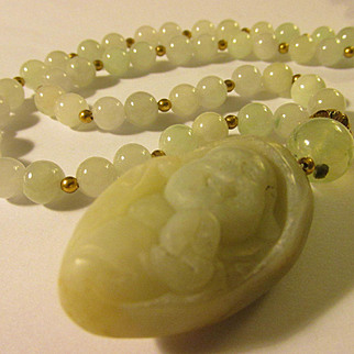 Laughing Buddha Nugget Jade Pendant with Mint Green-Lavender Jade Bead Necklace, 24""