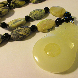 White Chinese Jade Pendant of Baby Dragons with Flat Gemstone Bead Necklace, 24""
