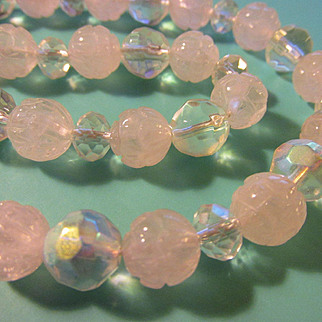 Carved Lotus Blossom Rose Quartz Beads with Clear AB Crystal Necklace, 21""