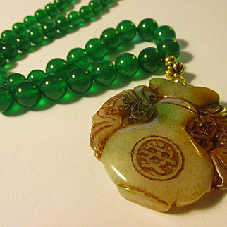Good Fortune Chinese Money Bat Jade Pendant with Green Jade Bead Necklace, 19""