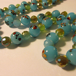 Aqua Blue Floral Lampwork Beads with AB Crystal Necklace, 22""