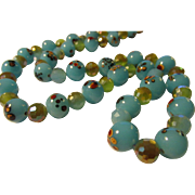 """Aqua Blue Floral Lampwork Beads with AB Crystal Necklace, 22"""""""