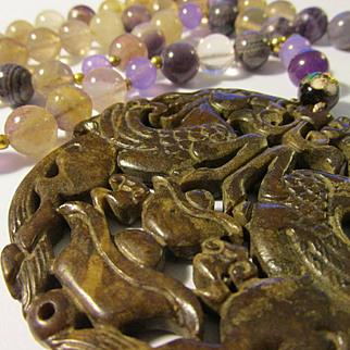 Mythical Winged Horses on Carved Brown Jade Pendant with Natural Fluorite Bead Necklace, 26""