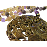 """Mythical Winged Horses on Carved Brown Jade Pendant with Natural Fluorite Bead Necklace, 26"""""""