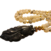 Blackish-Green Jade Goldfish Pendant with White and Black Tourmaline Bead Necklace, 22""