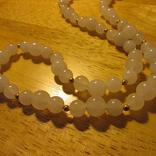 Snow White Jade Bead Necklace with 14K GF Spacers, 26""