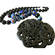 Double Dragon Double Happiness Black Jade Pendant with Agate and Ceramic Bead Necklace, 20""