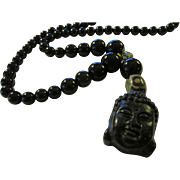 Jet Black Buddha Charm-Pendant with Black Agate Bead Necklace, 22""