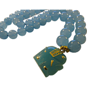Blue Jade Elephant Charm-Pendant with Blue Jade Bead Necklace, 20""