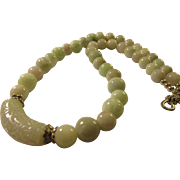 """Carved and Smooth Lavender and Green Jade Beaded Necklace, 22"""""""