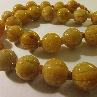 Carved Golden Honey Jade Ball Bead Necklace, 26""