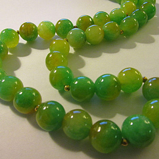 Multi-Colored Jade Ball Bead Necklace with 14K GF Spacers, 22""