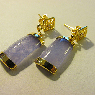 Chinese Lavender Jade Tiles Pierced Earrings with Good Fortune Symbol