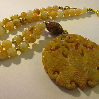 Chinese Money Moth Caramel Jade Pendant with Jade Bead Necklace, 20""